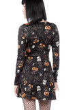 Scoop Neck Pumpkin Skull Halloween Skater Dress Dull Black