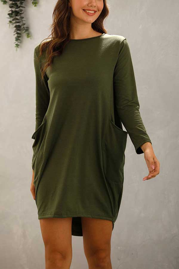 Plus Size Casual Solid Long Sleeve High Low Mini Dress Olive