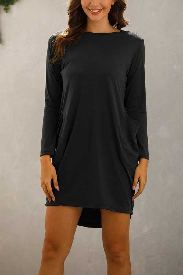 Plus Size Long Sleeve Crew Neck Pocket Mini T-Shirt Dress Black