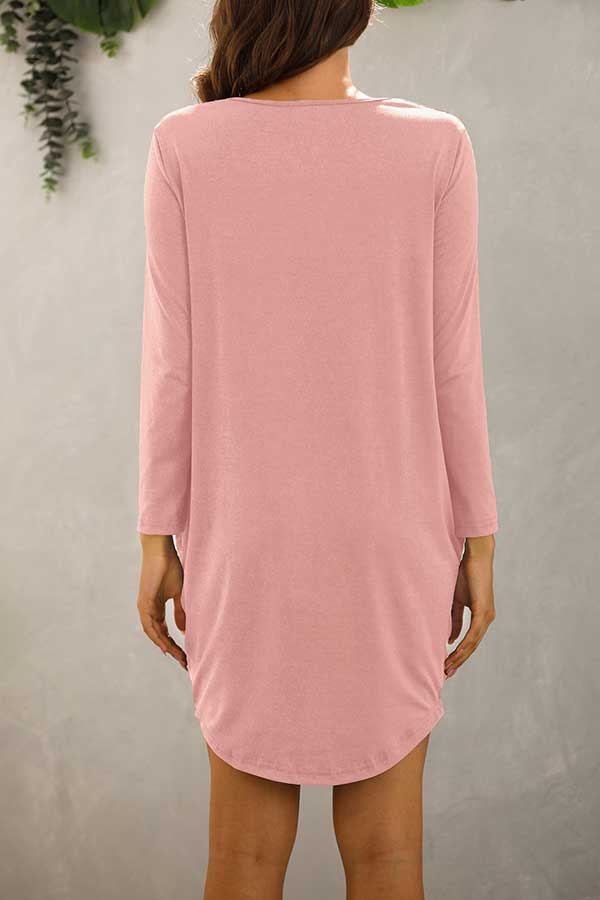 Long Sleeve Crew Neck Plain Plus Size T-Shirt Dress Pink