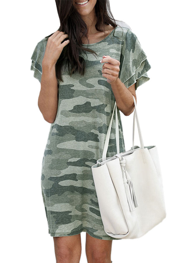 Summer Crew Neck Ruffle Sleeve Camo Mini Dress Green