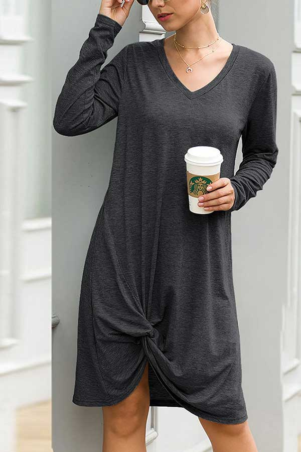 Solid Long Sleeve V Neck Tie Midi T-Shirt Dress Dark Grey