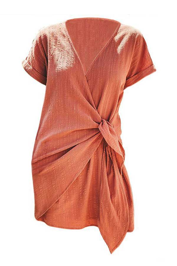 Wrap Neck Short Sleeve Tie Side Mini Dress Tangerine