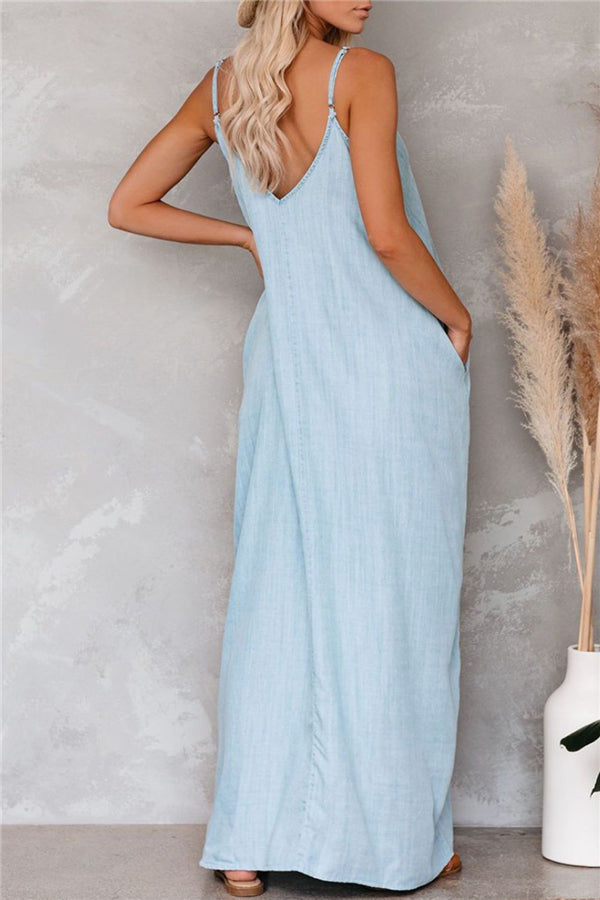 Loose Sleeveless V Neck Plain Maxi Dress Light Blue