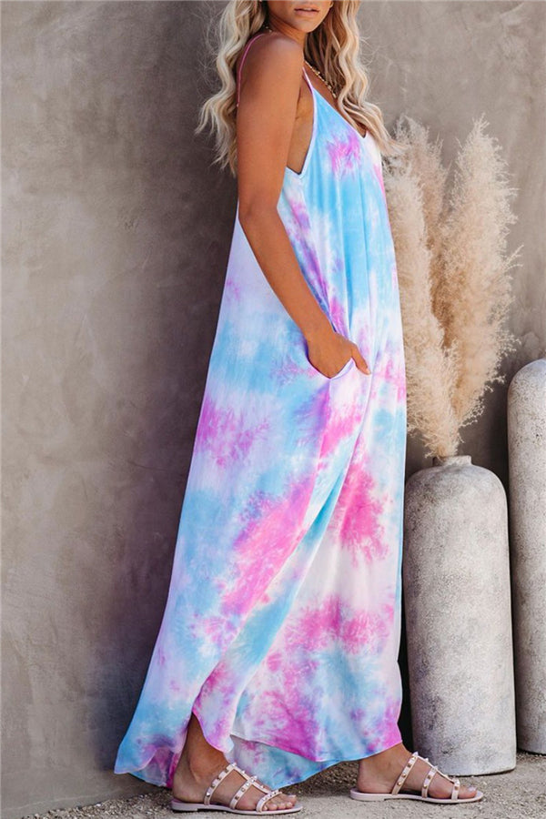 V Neck Sleeveless Loose Pocket Tie Dye Cami Maxi Dress