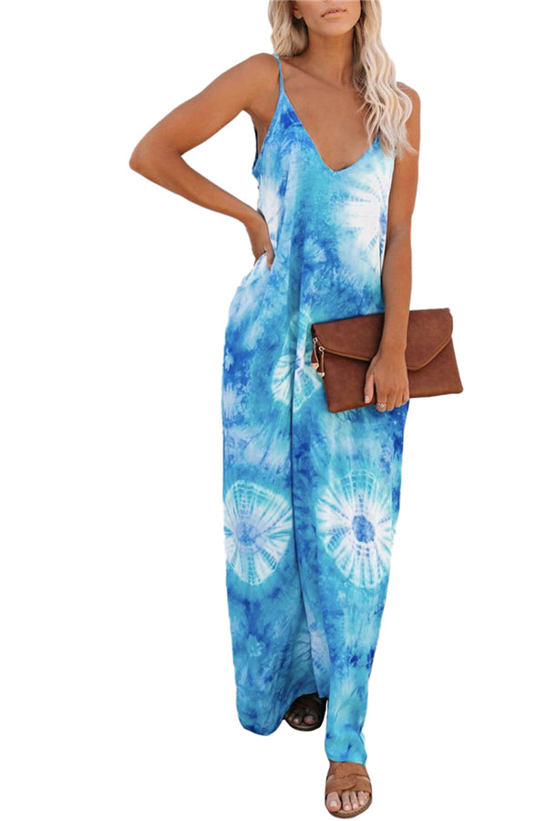 Sleeveless Deep V Neck Loose Tie Dye Cami Maxi Dress Turquoise