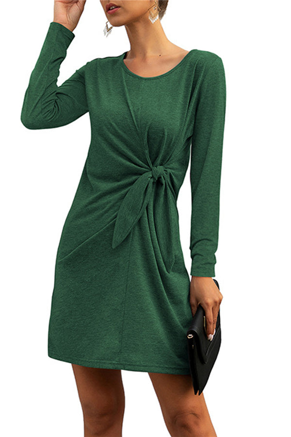 Casual Long Sleeve Crew Neck Tie Side T-Shirt Dress Green