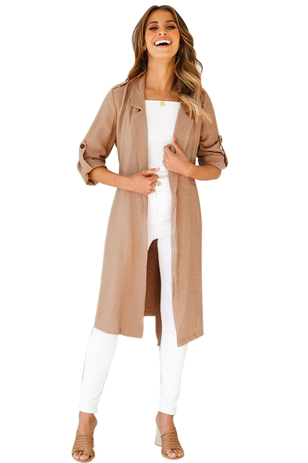 Long Sleeve Lapel Split Side Pocket Plain Trench Coat With Belt Khaki