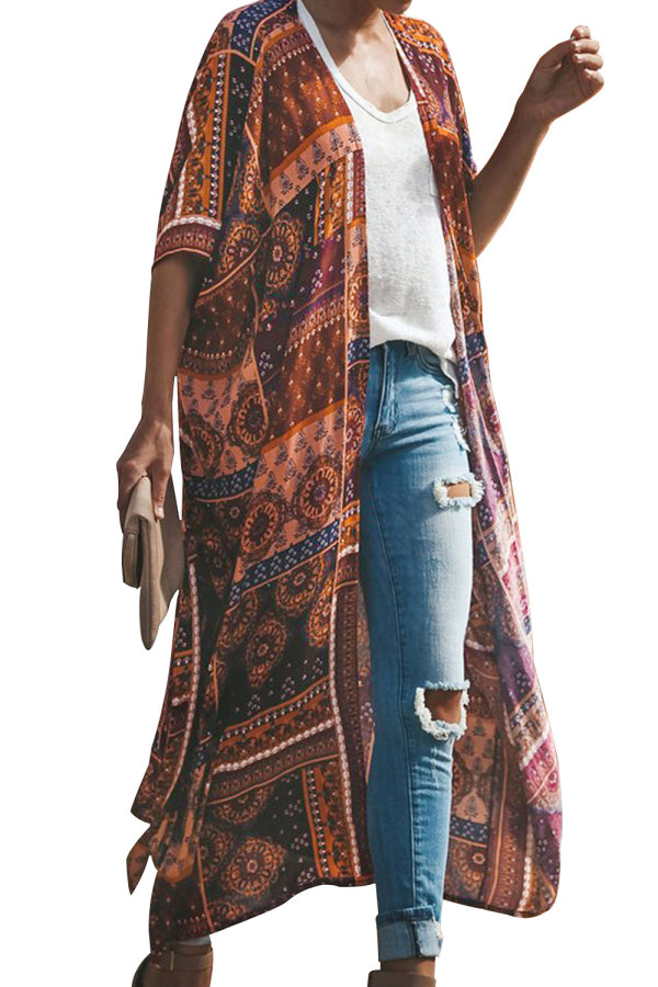 Women's Open Front Boho Kimono With Tie Brown