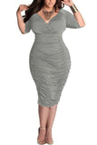 Plus Size Deep V Neck Wrap Ruched Waisted Bodycon Dress
