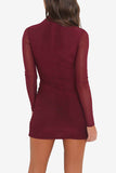 Women Sexy Long Mesh Sleeved Mini Bodycon Dress Ruby