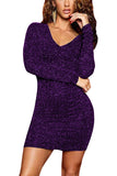 Sexy Lace Up Glitter Bodycon Mini Dress Purple