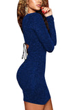 Lace Up Back Long Sleeve Bodycon Dress Sapphire Blue
