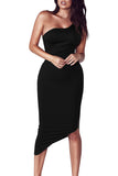 One Shoulder Asymmetric Hem Bodycon Midi Dress Black