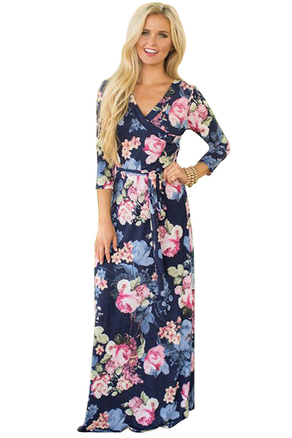 V Neck 3/4 Sleeve Tie Waist Floral Print Wrap Maxi Dress Navy Blue