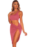 One Shoulder Top High Slit Bodycon Club Dress Rose Red