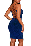 Criss Cross Back Glitter Sexy Bodycon Mini Club Dress