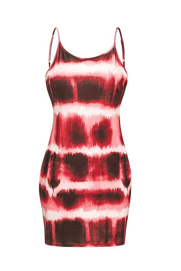 Women's Sexy Spaghetti Strap Tie Dye Bodycon Mini Dress