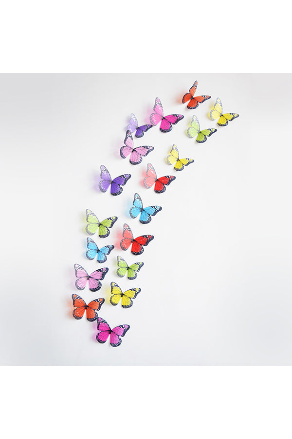 3D Butterfly Wall Decal Stickers Multicolor 18 Pieces
