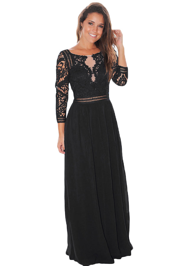 Womens Elegant Crochet Quarter Sleeve Lace Maxi Evening Dress Black