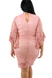 Plus Size Bell Sleeve Keyhole Lace Bodycon Midi Evening Dress Pink