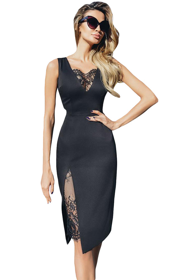 Sexy Sleeveless Lace Patchwork Plain Bodycon Midi Dress Blue