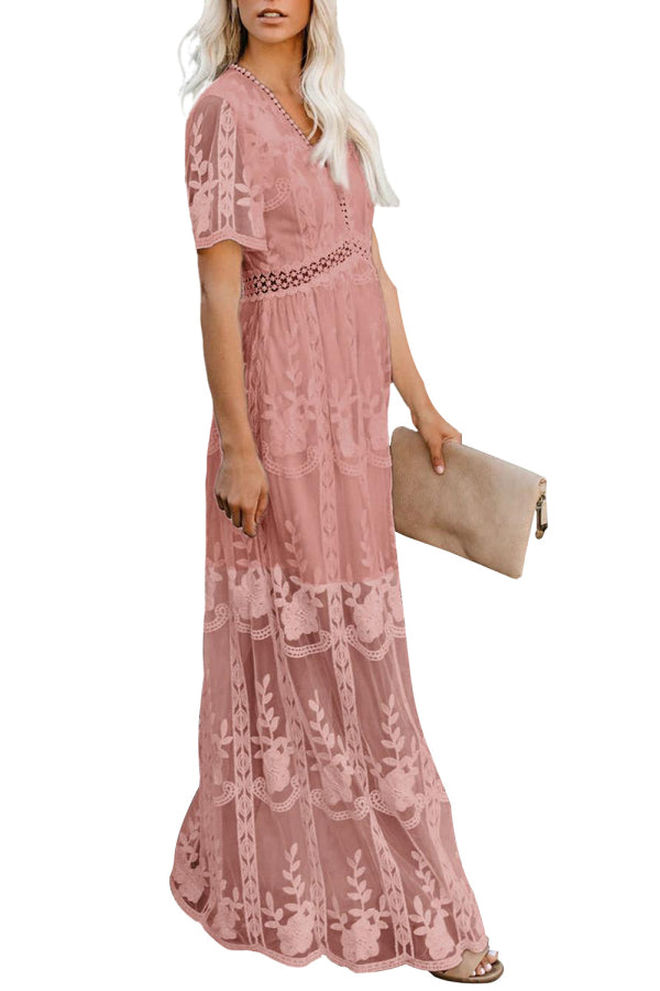 Depp V Neck Floral Lace Maxi Dress Pink