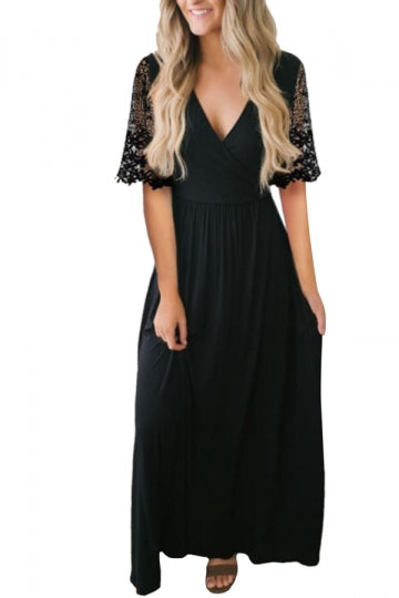 Floral Lace Half Sleeve V Neck Party Maxi Dress Black