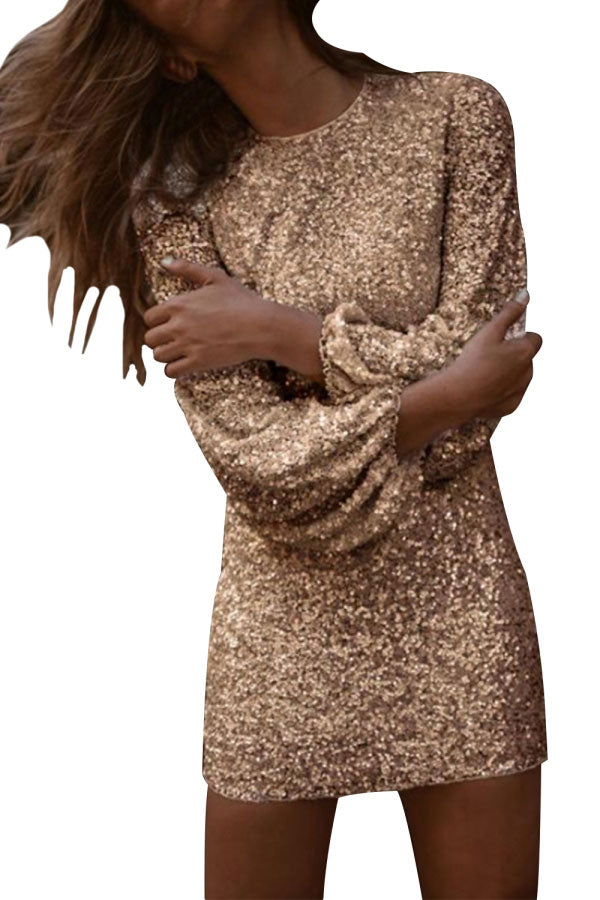 Glitter Long Sleeve Bodycon Mini Party Dress Gold