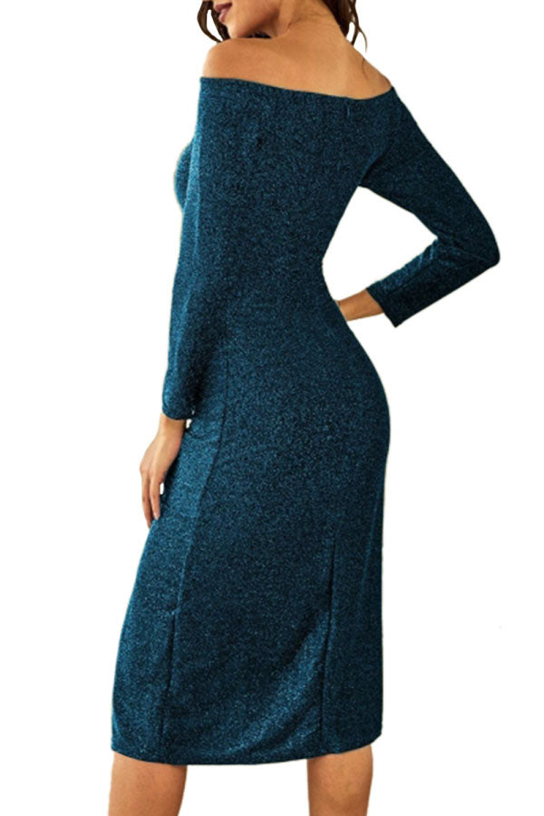 High Split Off Shoulder Long Sleeve Maxi Dress Blue