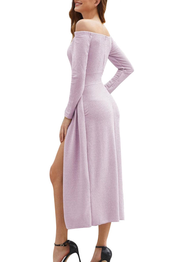 Off Shoulder High Split Solid Maxi Party Dress Light Purple