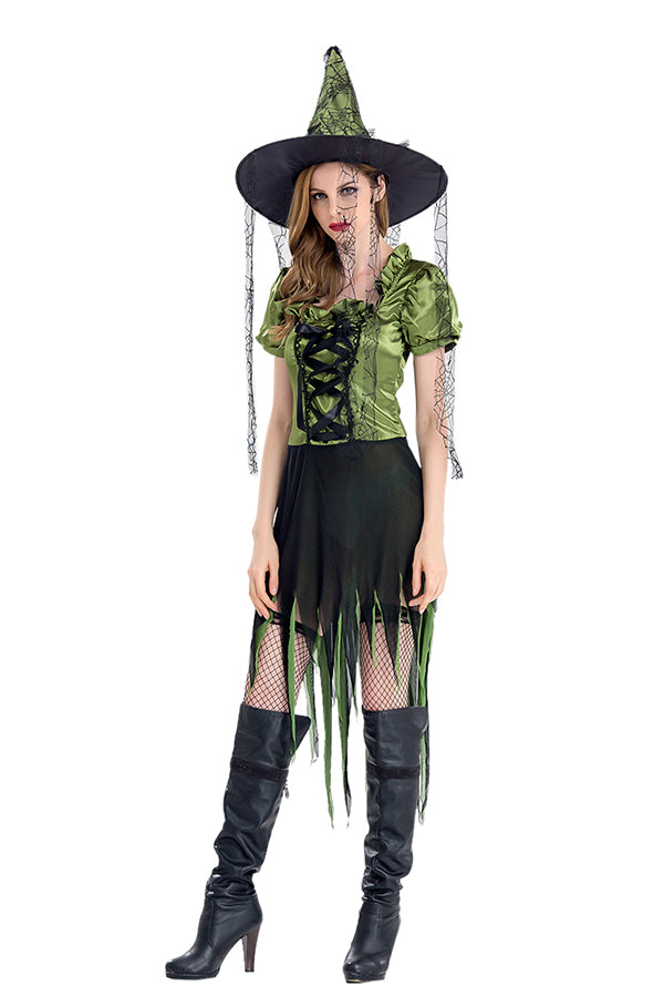 Women Halloween Witch Costume Green