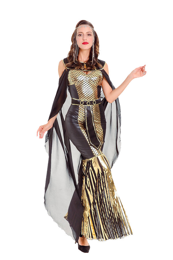 Womens Halloween Greek Goddess Sequin Costume Gold