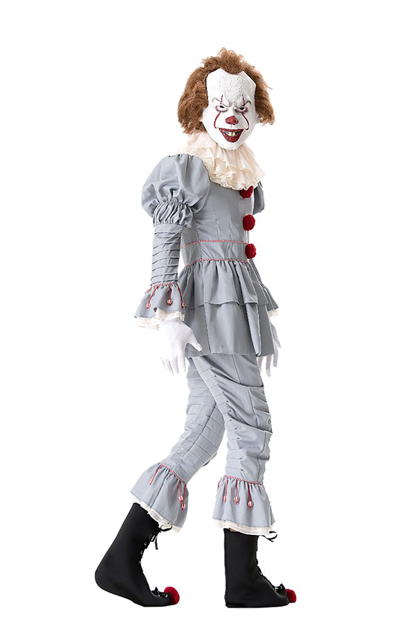 Steven King's It Halloween Scary Pennywise Evil Clown Costume Gray