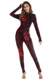 Blood Splatter Horror Bodysuit Halloween Costume Red