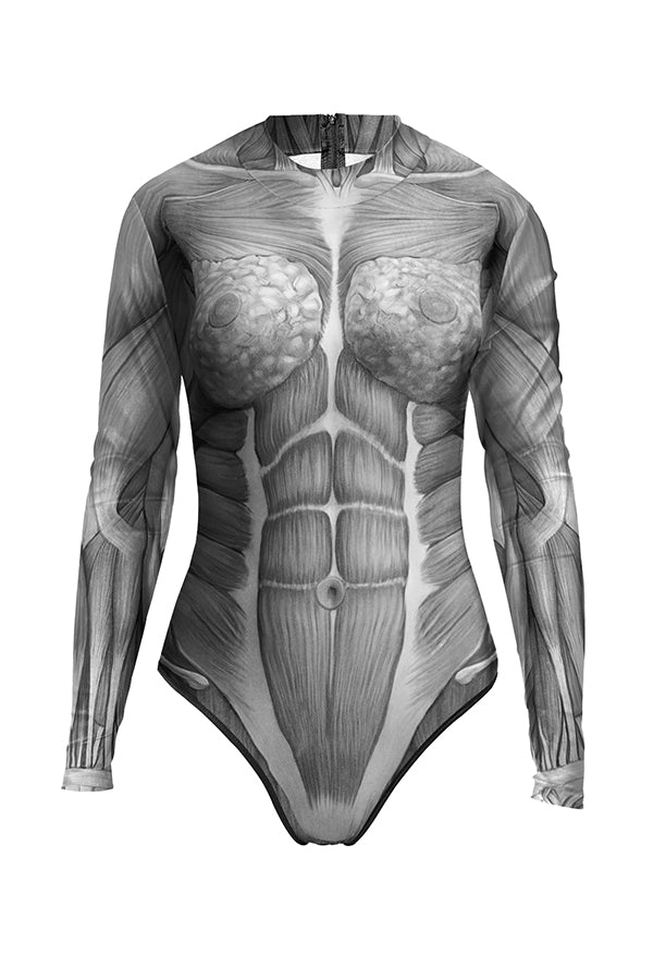 Adult Women's Human Muscle Bodysuit Halloween Costume Gray