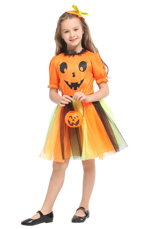 Kids Halloween Pumpkin Tutu Costume