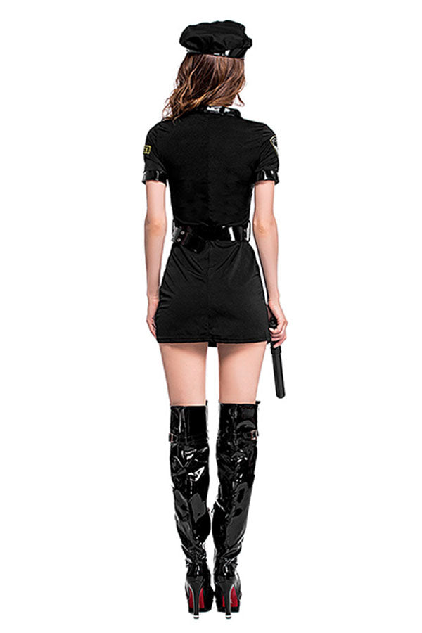 Sexy Policewomen Uniform With Hat Halloween Costume Black