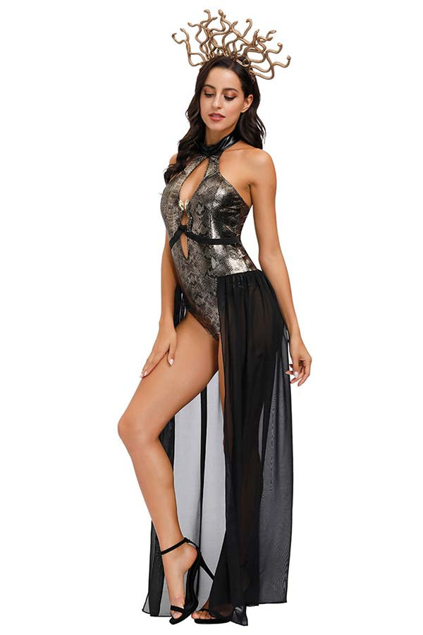 Medusa Halloween Costume Adult Sexy Cosplay Dress with Headpiece