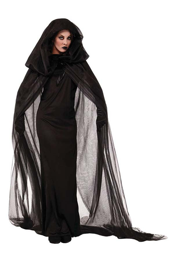 Women's Long Sleeve Mesh Black Witch Halloween Costume