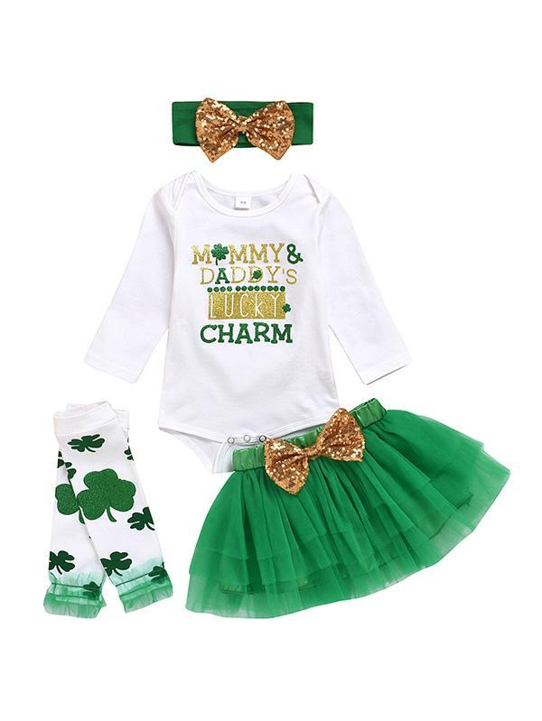 St Patricks Day Outfit Baby Girls Clover Tutu Skirt