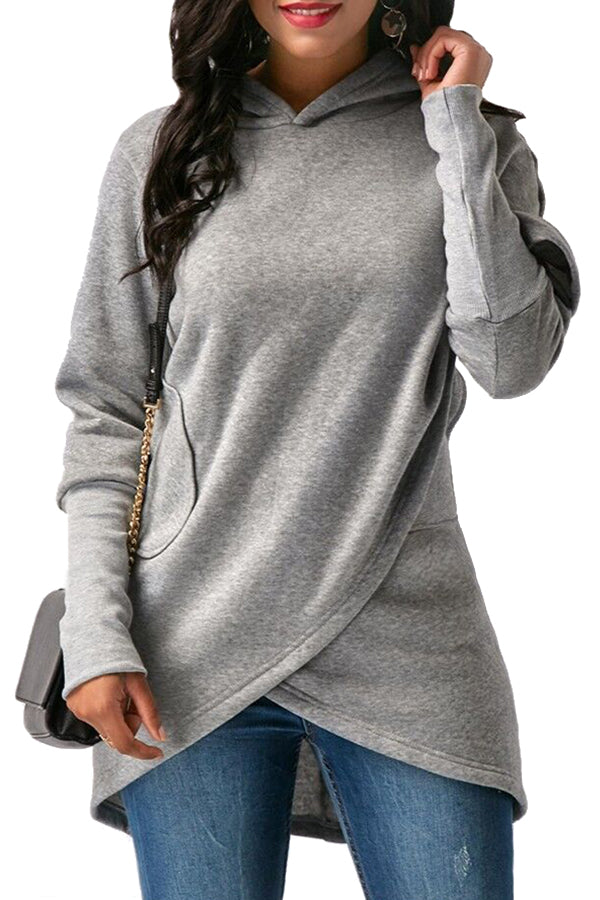 Womens Long Sleeve With Pocket Asymmetrical Hem Plain Hoodie Gray