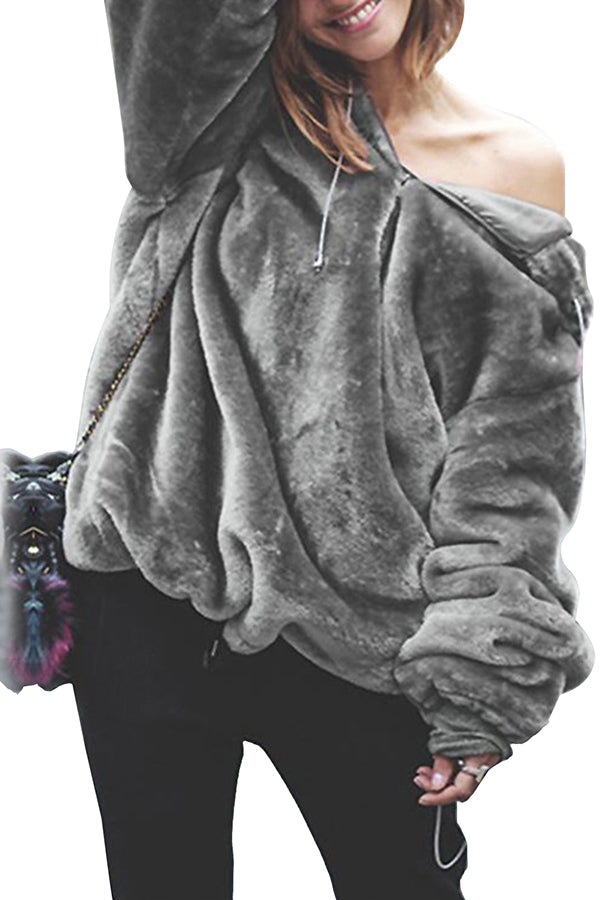Long Sleeve Drawstring Quarter Zip Oversized Fuzzy Hoodie Gray