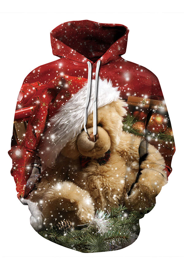 Plus Size Teddy Bear Funny Christmas Hoodie Camel