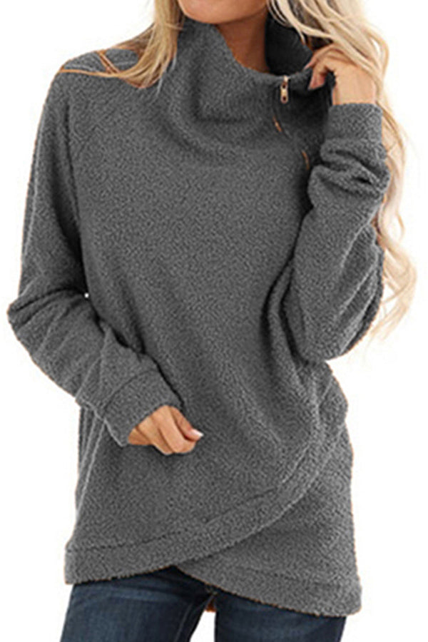 Oblique Zip Stand Collar Teddy Sweatshirt Light Grey