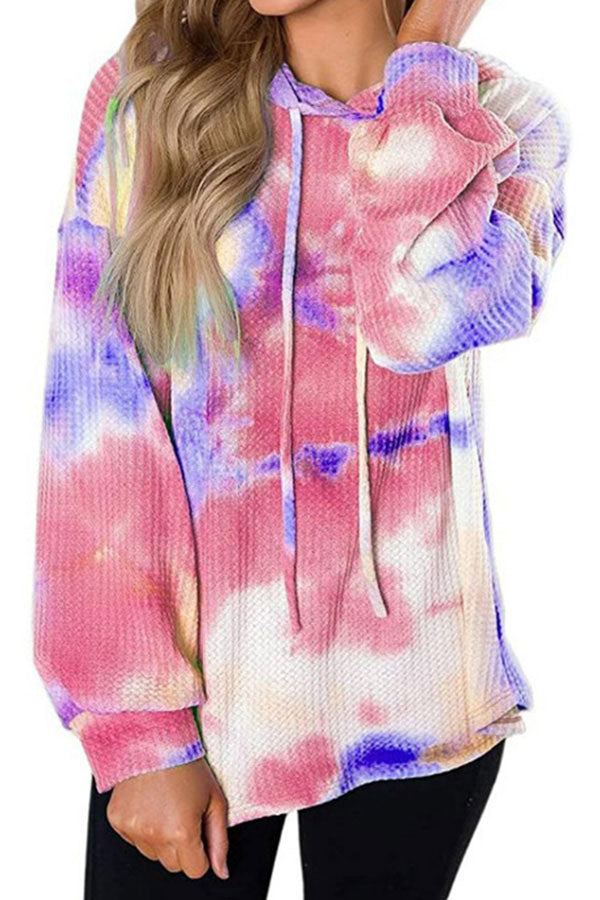 Long Sleeve Tie Dye Hoodie With Waffle Knit Rose Red