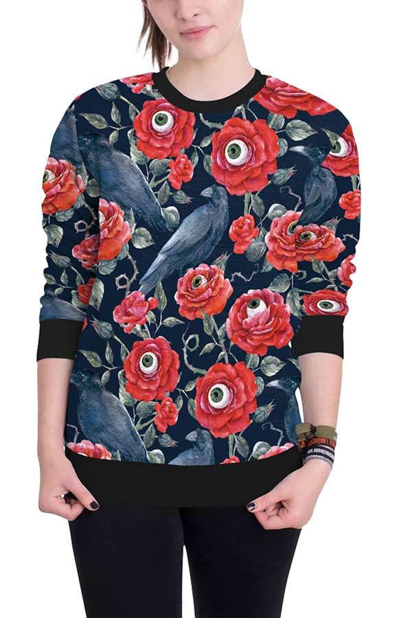 Rose Eye Bird Print Pullover Halloween Sweatshirt Crimson