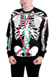 Skeleton Bloody Vessel Print Sweatshirt For Halloween Turquoise