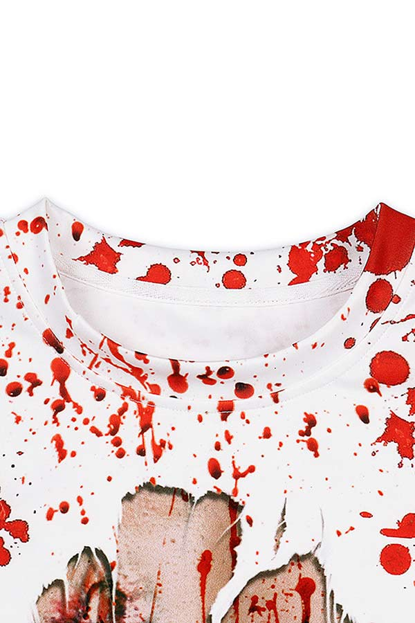 Casual Bloody Graffiti Halloween Sweatshirt White