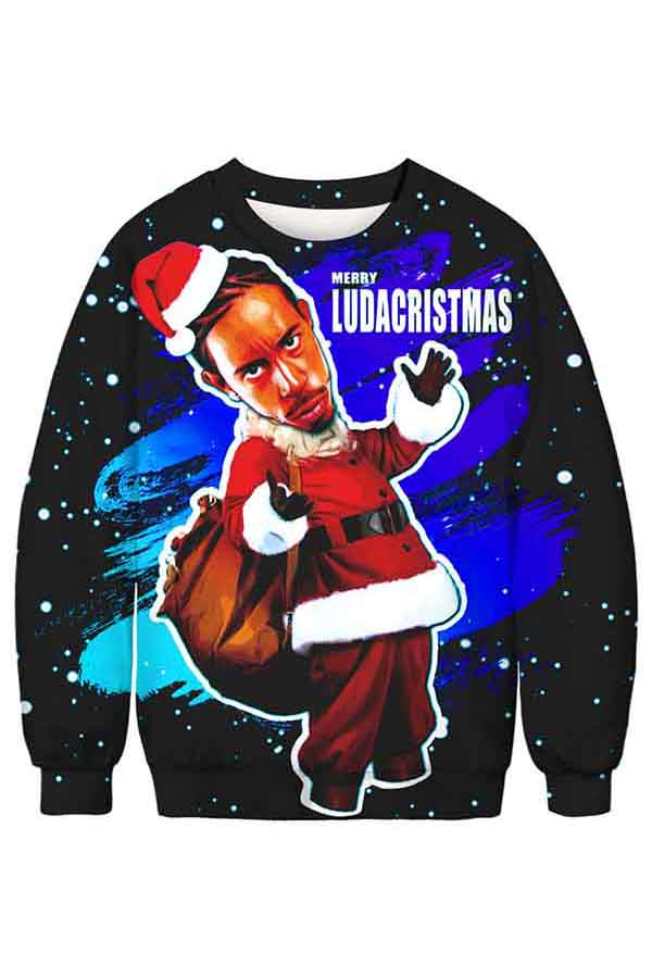 Long Sleeve Crew Neck Ugly Christmas Sweatshirt Sapphire Blue